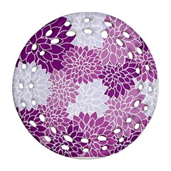 Floral Wallpaper Flowers Dahlia Round Filigree Ornament (Two Sides)