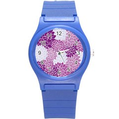 Floral Wallpaper Flowers Dahlia Round Plastic Sport Watch (s)