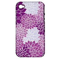 Floral Wallpaper Flowers Dahlia Apple Iphone 4/4s Hardshell Case (pc+silicone)