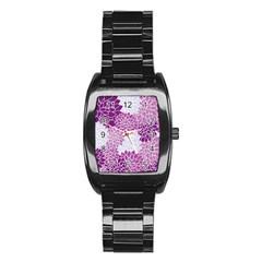 Floral Wallpaper Flowers Dahlia Stainless Steel Barrel Watch