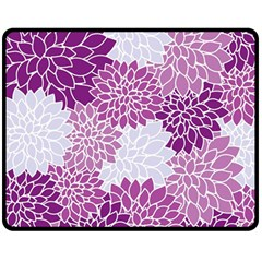 Floral Wallpaper Flowers Dahlia Double Sided Fleece Blanket (medium)