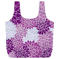 Floral Wallpaper Flowers Dahlia Full Print Recycle Bags (l)