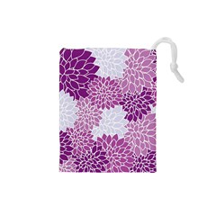 Floral Wallpaper Flowers Dahlia Drawstring Pouches (small)