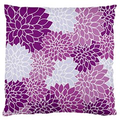 Floral Wallpaper Flowers Dahlia Large Flano Cushion Case (two Sides)