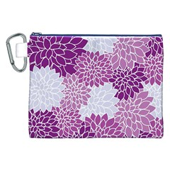 Floral Wallpaper Flowers Dahlia Canvas Cosmetic Bag (XXL)