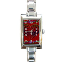 Red Heart Colorful Love Shape Rectangle Italian Charm Watch