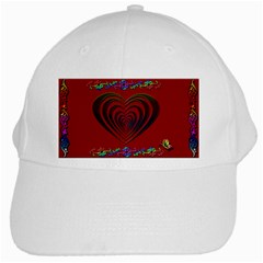 Red Heart Colorful Love Shape White Cap