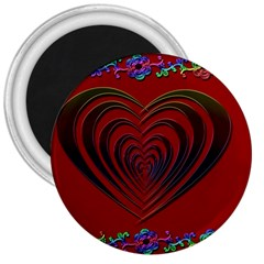 Red Heart Colorful Love Shape 3  Magnets