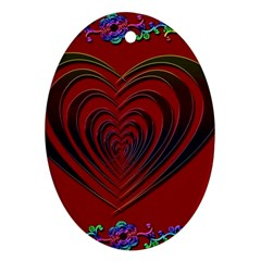 Red Heart Colorful Love Shape Ornament (oval)