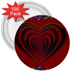 Red Heart Colorful Love Shape 3  Buttons (100 pack)