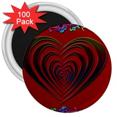Red Heart Colorful Love Shape 3  Magnets (100 Pack)