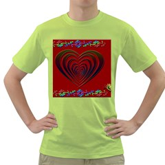 Red Heart Colorful Love Shape Green T Shirt