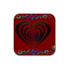Red Heart Colorful Love Shape Rubber Square Coaster (4 pack)