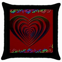 Red Heart Colorful Love Shape Throw Pillow Case (black)