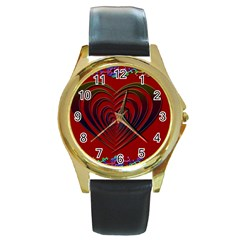 Red Heart Colorful Love Shape Round Gold Metal Watch