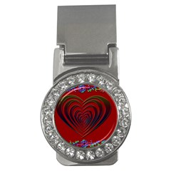 Red Heart Colorful Love Shape Money Clips (cz)