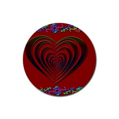 Red Heart Colorful Love Shape Rubber Coaster (round)