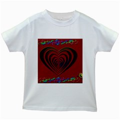 Red Heart Colorful Love Shape Kids White T Shirts