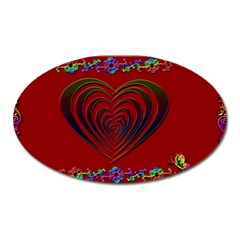 Red Heart Colorful Love Shape Oval Magnet
