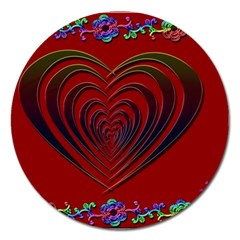 Red Heart Colorful Love Shape Magnet 5  (round)