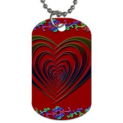 Red Heart Colorful Love Shape Dog Tag (two Sides)