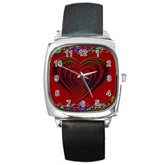 Red Heart Colorful Love Shape Square Metal Watch