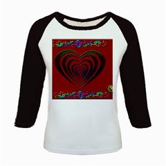 Red Heart Colorful Love Shape Kids Baseball Jerseys