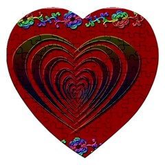 Red Heart Colorful Love Shape Jigsaw Puzzle (heart)