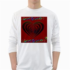 Red Heart Colorful Love Shape White Long Sleeve T-Shirts