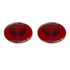 Red Heart Colorful Love Shape Cufflinks (oval)