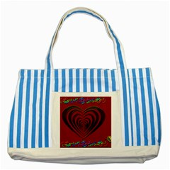 Red Heart Colorful Love Shape Striped Blue Tote Bag