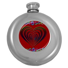 Red Heart Colorful Love Shape Round Hip Flask (5 oz)