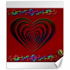 Red Heart Colorful Love Shape Canvas 8  X 10