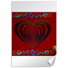Red Heart Colorful Love Shape Canvas 12  x 18