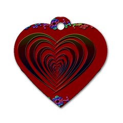 Red Heart Colorful Love Shape Dog Tag Heart (One Side)