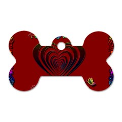 Red Heart Colorful Love Shape Dog Tag Bone (Two Sides)