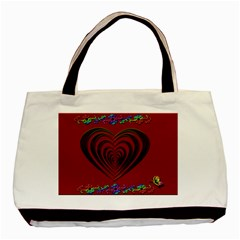 Red Heart Colorful Love Shape Basic Tote Bag (Two Sides)