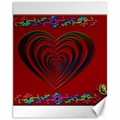 Red Heart Colorful Love Shape Canvas 11  X 14