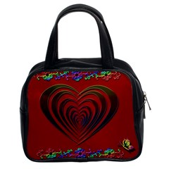 Red Heart Colorful Love Shape Classic Handbags (2 Sides)
