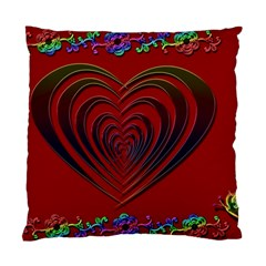 Red Heart Colorful Love Shape Standard Cushion Case (Two Sides)