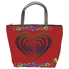 Red Heart Colorful Love Shape Bucket Bags
