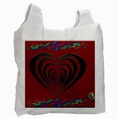 Red Heart Colorful Love Shape Recycle Bag (two Side)