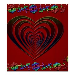 Red Heart Colorful Love Shape Shower Curtain 66  x 72  (Large)