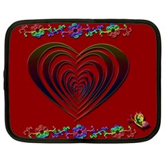 Red Heart Colorful Love Shape Netbook Case (XXL)