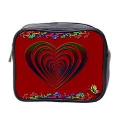 Red Heart Colorful Love Shape Mini Toiletries Bag 2 Side