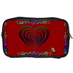 Red Heart Colorful Love Shape Toiletries Bags 2 Side
