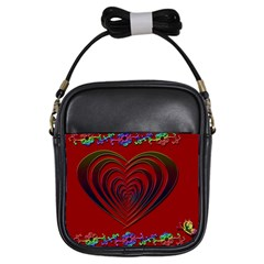 Red Heart Colorful Love Shape Girls Sling Bags