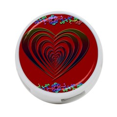 Red Heart Colorful Love Shape 4 Port Usb Hub (one Side)