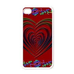 Red Heart Colorful Love Shape Apple Iphone 4 Case (white)