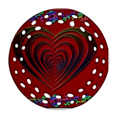 Red Heart Colorful Love Shape Round Filigree Ornament (Two Sides)